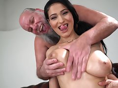 Lucky aged guy gets to fuck Ava Black while she moans loudly