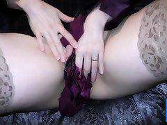 Replica satin blouse and satin panty thing masturbation