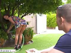 Long-legged babe Becky Bandini shows off her yummy pussy to handsome neighbor