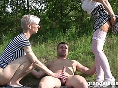 outside threesome in someone's skin wood is amazing jeopardize for amazing blonde