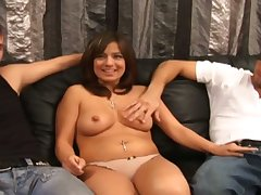 Beamy bottomed gifted floozy Gabriella Romano rides dick added to gives awesome BJ