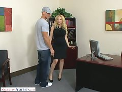 Posh blue-eyed female chief Kagney Linn Karter fucks new employee right hopes
