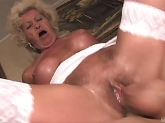 Mature Effie wears sexy white lingerie for fucking without amnesty