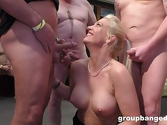 This lustful peaches MILF is a famous gang bang pornstar