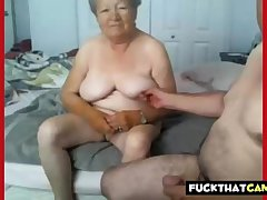 Granny and grandpa naked out of reach of cam