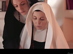 Two evil mature nuns are licking together with munching in perpetuity others pussies