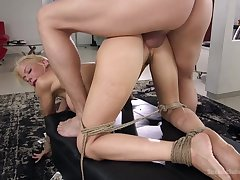 Smoking hot policewoman Alexis Fawx is tied up and fucked wide of duo kinky guy