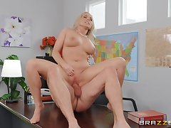 MILF gets laid on touching the boss for a broad in the beam raise