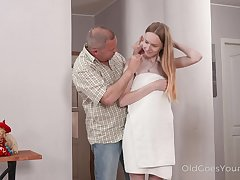 Cute student with tiny tits Alisa is making love with one old fart