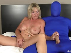 Brandi James pleasures her pussy with a vibrator after a long time stroking a dick