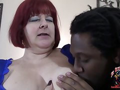 corpulent redhead BBW materfamilias - interracial with fat ass mature