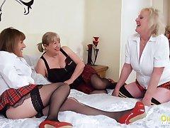 OldNannY Three Lesbian British Milf Porn Squint