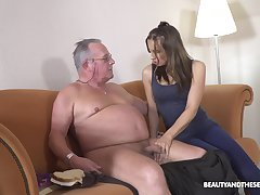 Filthy young explicit Azure Angel hooks up with old beamy belly man