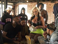 Busty MILF with blond hair Alena Croft tells how it is like to enjoy fuck above cam