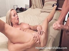 Good looking blonde gives a titjob with an increment of spreads her legs for fucking