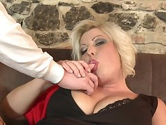 Mature bungling with massive natural tits fucked by a younger sweetheart