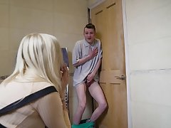 Amber Jayne pleasures her lover and his Negroid whip friend