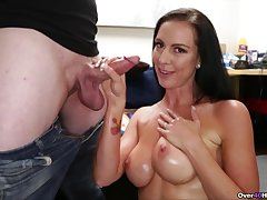 Downcast ass mature woman is impressed by son's big dick