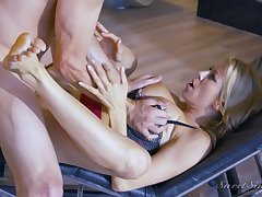 Blonde bitch gets bent over and nailed