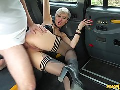 Tanya Virago rubs her cunt in the cab then lets the driver fuck her fast