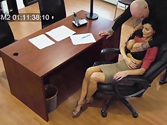 Horny big breasted secretary Becky Bandini gives a terrific blowjob