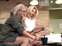 Aging lesbian Elvira is fond of beautiful young body of 19 yo model Missy Luv
