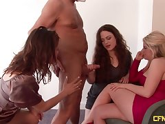 Two dudes with small dicks getting blown by Ella James increased by interexchange girls