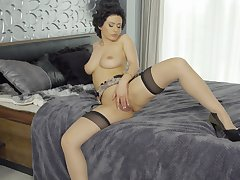 Superb wife toys pussy while naked and abode alone