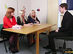 Guy in lodge pleases these horny MILFs during job interview