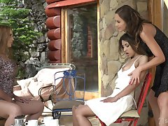 Lesbian ass worship by way of threeway be required of Tina Kay, Roxy Outfall and Kaisa Nord
