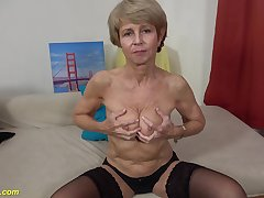 Ugly 75 years age-old grandma first time on video