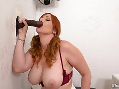 Smooth oral plus pussy action through the glory hole on a BBC