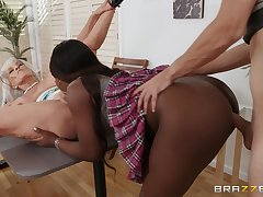 Young stud's interracial FFM threesome with Noemie Bilas and Sally D'Angelo