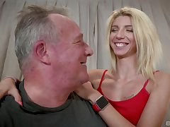 Caring blonde Missy Luv lends say no to congregation to an older man's pleasure