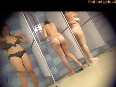 Confining Camera In The Public Shower With Sensual Girls - Cum Load