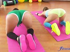 Kinky lesbian ass eating between serve Coco de Mal and Talia Mint