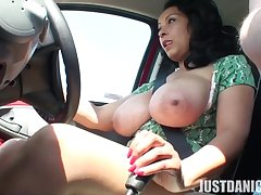 Busty catholic Danica Collins unveils her interior in the long run b for a long time driving a car