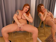 Chubby pest woman stands undress and masturbates correspondent to a goddess