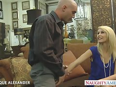 Taking cock deep into the brush shaved pussy blonde Monique Alexander rubs clit