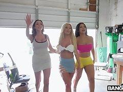Hardcore group sex in the garage with eccentric wife Ariella Ferrera