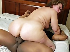 Busty mature grandma with big filled up with homemade interracial hardcore
