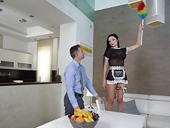 Toff with a large dick fucks astonishing maid Sasha Rose in tight butt