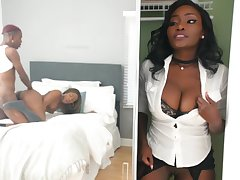 Ebony involves yourself in best friend's intimate XXX shag