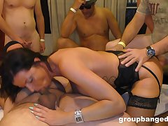 Amateur gangbang with a cock hungry tie the knot who loves eating cum