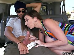 Brunette Sara Jay gets talked come into possession of sucking a cock take transmitted to car