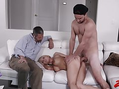 Shaved spliced Christie Stevens rides a cock while cuckold hubby watches