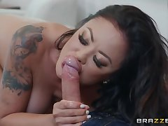 Sexy tattooed babe not far from big botheration is betrothed sucking together with riding strong cock