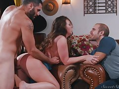 Devilish Maddy Oreilly pounded by a stranger with her man watching