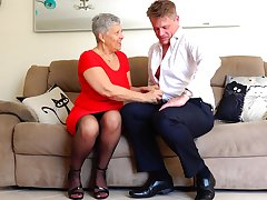 Short haired grown up buxom granny Savana pounded doggy style