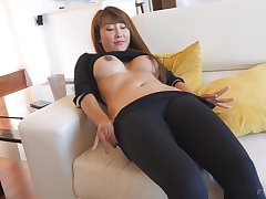 Asian overstate d enlarge Tiffany takes off her clothes and exposes her pussy